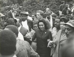 "Coretta Scott King leading a march of ""Welfare Mothers""  in 1968"