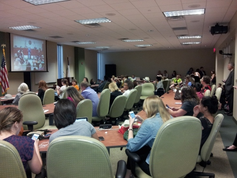 One of the overflow rooms teeming with Texans for Reproductive Justice