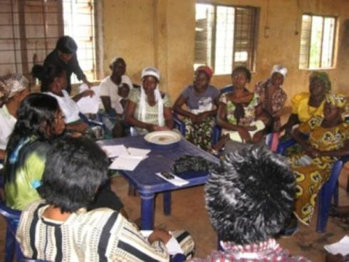 Prof J. Odey facilitating a Focus Group Discussion with representatives of Women's Groups at CIRDDOC Community Information Centre, Ikwo
