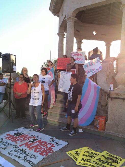 Activists speak at a rally in Los Angeles on August 18th